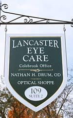 Lancaster Eye Care Colebrook, NH sign